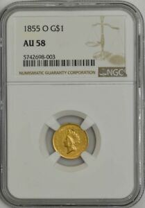 1855 O $ GOLD INDIAN DOLLAR AU58 NGC 943431 6