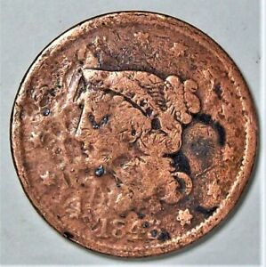 1843 LARGE CENT   CLEANED/DAMAGED