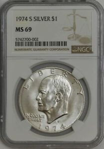 Click now to see the BUY IT NOW Price! 1974 S SILVER EISENHOWER DOLLAR IKE $ MS69 NGC 943399 10
