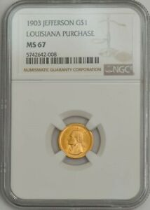 Click now to see the BUY IT NOW Price! 1903 $ GOLD JEFFERSON DOLLAR LOUISIANA PURCHASE MS67 NGC 943560 4
