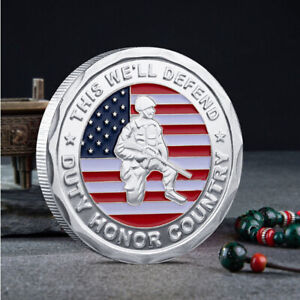 COMMEMORATIVE COIN COLLECTIBLE US MILITARY ARMY VETERAN PROUDLY SERVED CHALLENGE