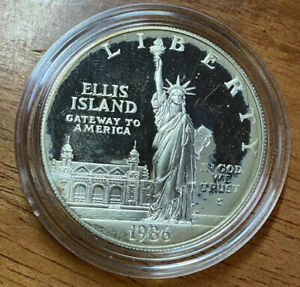 1986 S PROOF STATUE OF LIBERTY SILVER DOLLAR COIN