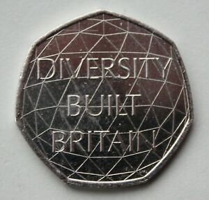 BRITISH 2020 DIVERSITY BUILT BRITAIN 50P COIN. FIFTY PENCE.