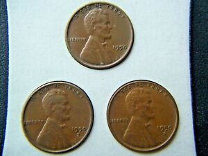 1950 P D S LINCOLN BROWN WHEAT CENTS SET OF 3