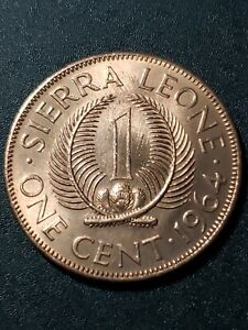 SIERRA LEONE 1964 MILTON MARGAI  1 CENT  BRONZE  26MM CIRCULATED COIN