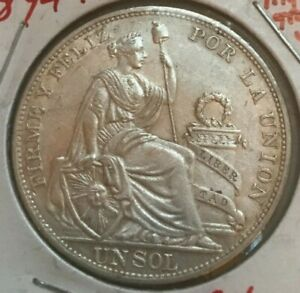 Click now to see the BUY IT NOW Price! 1894 TF PERU 1 ONE SOL      POSSIBLE LIGHT CLEANING