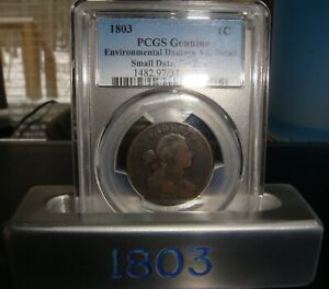1803 DRAPED BUST LARGE CENT PCGS VG SMALL DATE SMALL FRAC. ENVIRONMENT DAMAGE