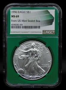 1996 NGC MS69 SILVER EAGLE FROM US MINT SEALED BOX [011DUD]