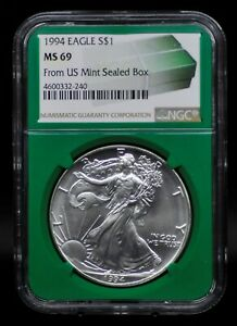 1994 NGC MS69 SILVER EAGLE FROM US MINT SEALED BOX [011DUD]