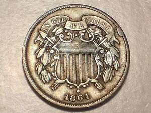 1864 TWO CENT PIECE  XF OBV. CUD 180 DEGREE DIE ROTATION & ATTRACTIVE