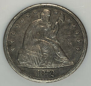 1872 S SEATED LIBERTY SILVER DOLLAR NGC AU 50