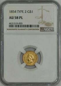 Click now to see the BUY IT NOW Price! 1854 TYPE 2 $ GOLD LIBERTY DOLLAR AU58 PL NGC 943370 1