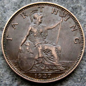 GREAT BRITAIN GEORGE V 1927 FARTHING HIGH GRADE