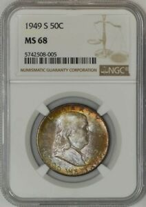 Click now to see the BUY IT NOW Price! 1949 S FRANKLIN HALF 50C MS68 NGC 943052 18   COLOR
