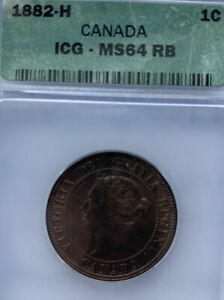 1882 H CANADA LARGE CENT MS64RB ICG
