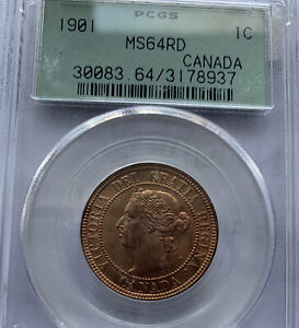 1901 CANADA LARGE CENT MS64 RED GREEN LABEL PCGS