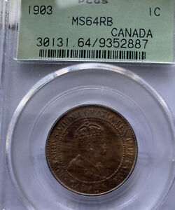 1903 CANADA LARGE CENT MS64RB GREEN LABEL PCGS
