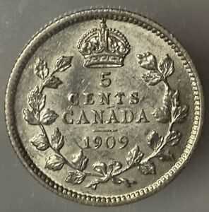 CANADA EDWARD VII 5 CENTS 1909 ROUND LEAVES CROSS/BOW TIE   ICCS EF 45