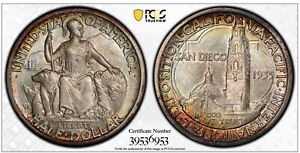 Click now to see the BUY IT NOW Price! 1935 S SAN DIEGO COMMEMORATIVE HALF DOLLAR PCGS MS67  CAC POP 40/9 OF 11K GRADED
