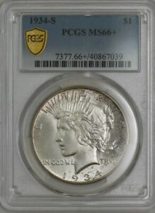 Click now to see the BUY IT NOW Price! 1934 S PEACE DOLLAR $ MS66  PCGS SECURE 942316 2 REGISTRY COIN POP 7 0