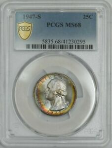 Click now to see the BUY IT NOW Price! 1947 S WASHINGTON QUARTER 25C MS68 PCGS SECURE 943164 17   COLOR