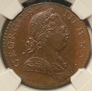 Click now to see the BUY IT NOW Price! GREAT BRITAIN GEORGE III 1/2 PENNY 1774 NGC MS62 BN
