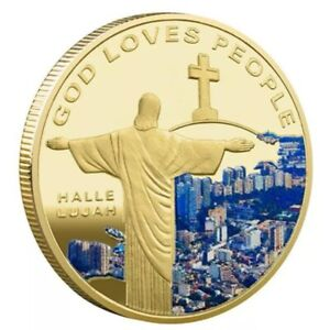 JESUS CHRIST   GOD LOVES PEOPLE UNC COMMEMORATIVE GOLD PLATED COLORIZED 40MM
