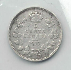 CANADA COINS   5 CENT 1917     SILVER .925    662