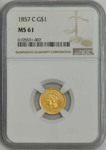 Click now to see the BUY IT NOW Price! 1857 C $ GOLD INDIAN DOLLAR MS61 NGC 943613 5