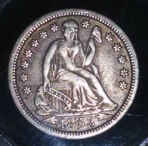 1853 SILVER SEATED LIBERTY DIME WITH ARROWS