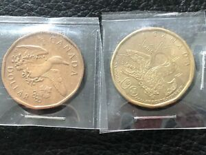 2 CANADA LUCKY LOONIES CIRCULATED OPEN WINGS DUCK OLYMPIC 2008 &2016