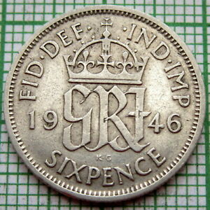 GREAT BRITAIN GEORGE VI 1946 SIXPENCE 6 PENCE SILVER