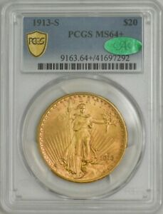 1913 S $20 ST. GAUDENS MS64  PCGS SECURE CAC 943688 22