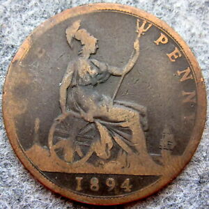 GREAT BRITAIN QUEEN VICTORIA 1894 ONE PENNY