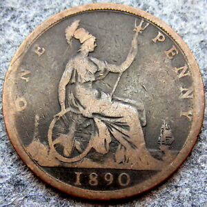 GREAT BRITAIN QUEEN VICTORIA 1890 ONE PENNY