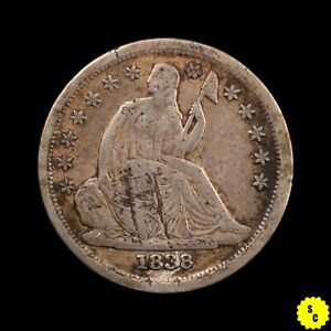 1838 LARGE STARS SEATED LIBERTY SILVER DIME XF DETAILS DAMAGED OBVERSE 52