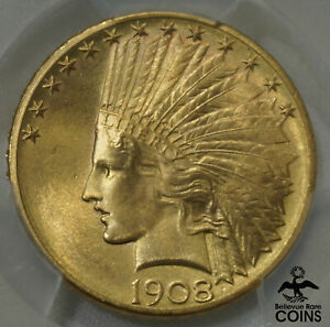 1908 S UNITED STATES $10 GOLD INDIAN HEAD EAGLE VARIETY 2 PCGS MS66 GEM UNC