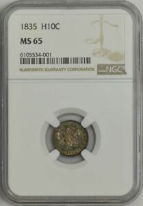 1835 CAPPED BUST HALF DIME H10C MS65 NGC 943388 3