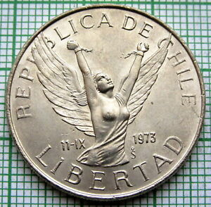 CHILE 1979 10 PESOS LIBERTAD   FEMALE ANGEL WITH BROKEN SHACKLES ON ARMS UNC