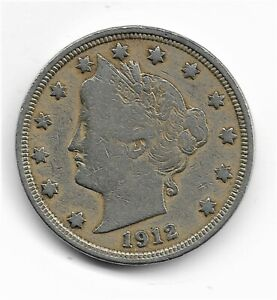 1912 P LIBERTY V NICKEL   LAST YEAR   FINE CONDITION   BETTER THAN PICTURE