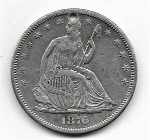 1876 CC SEATED LIBERTY HALF DOLLAR   XF OR BETTER   WITH HOLE   CUD ON BACK?