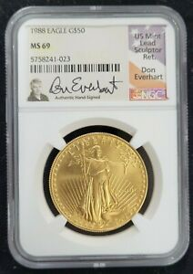 1988 AMERICAN GOLD EAGLE AGE G$50 NGC MS 69 HAND SIGNED DON EVERHART SIGNATURE