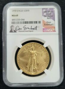 1990 AMERICAN GOLD EAGLE AGE G$50 NGC MS 69 HAND SIGNED DON EVERHART SIGNATURE