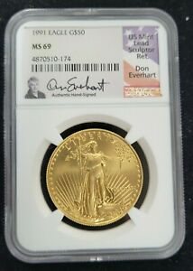 1991 AMERICAN GOLD EAGLE AGE G$50 NGC MS 69 HAND SIGNED DON EVERHART SIGNATURE