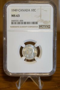 1949 10C DIME CANADA NGC MS 63