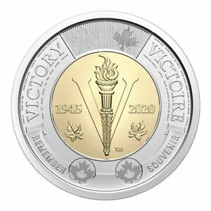 2020 CANADA 75TH ANNIVERSARY OF WWII ENDING $2 UNCOLOURED TOONIE    FROM ROLL