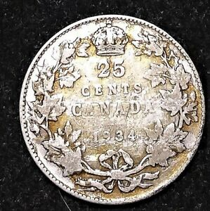 1934 CANADA SILVER 25 CENTS BETTER CONDITION GREAT PRICE