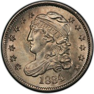 Click now to see the BUY IT NOW Price! 1834 CAPPED BUST HALF DIME PCGS MS66 BRIGHT WHITE GEM GOLD SHIELD & TRUEVIEW