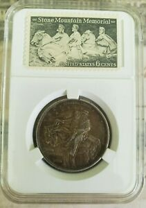 1925 P STONE MOUNTAIN COMMEMORATIVE HALF DOLLAR WITH MEMORIAL 6 CENT STAMP NICE