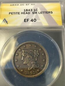 1843 BRAIDED HAIR LARGE CENT PETITE HEAD SMALL LETTERS ANACS  40 CHOICE V. NICE